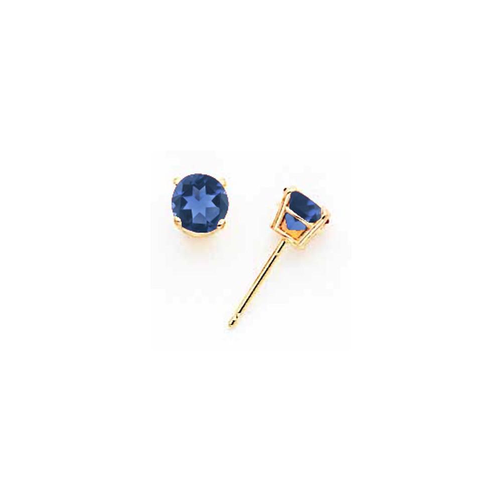 14k Yellow Gold Sapphire Post Back Stud Earrings. Gem Wt- 1.44ct (5MM)