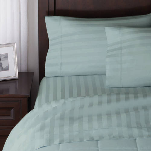 Better Homes and Gardens 300 Thread Count Damask Stripe Twin Sheet Set, Green Juniper