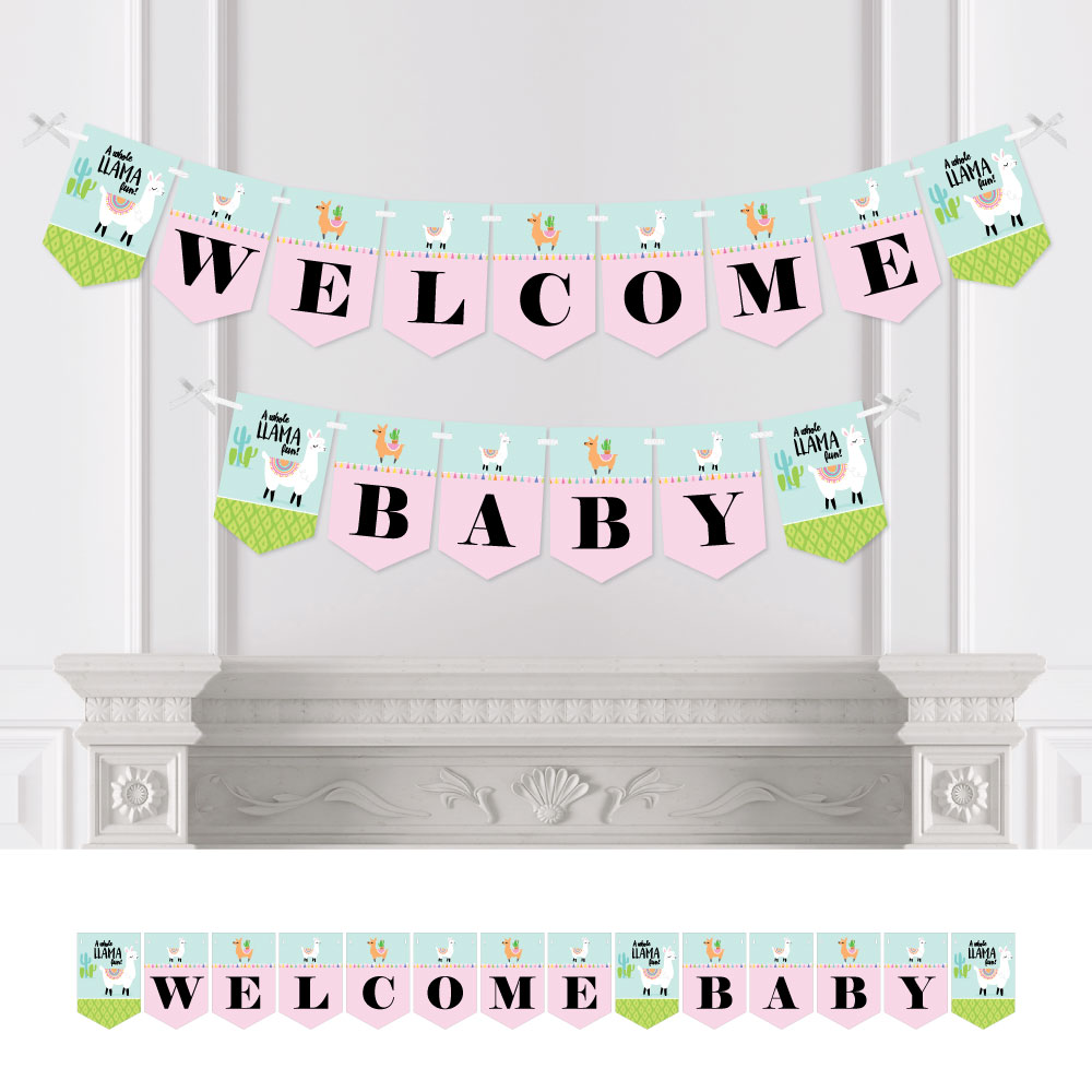 Whole Llama Fun - Llama Fiesta Baby Shower Bunting Banner - Party Decorations - Welcome Baby