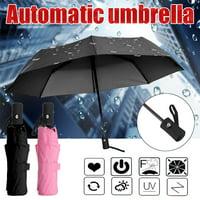 11.02 x1.69 Inch Auto open/close Anti-UV Automatic Umbrella Sun/Rain Folding Umbrella, Black,Pink