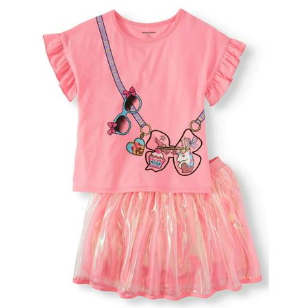 Baby Girl Supplies (JoJo Siwa Ruffled Tee and Organza Tutu Skirt, 2-Piece Outfit Set (Little Girls & Big)