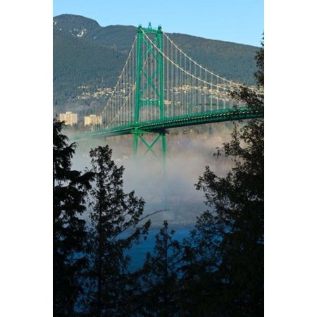 British Columbia Vancouver Lions Gate Bridge Over Fog Poster Print By Rick A Brown