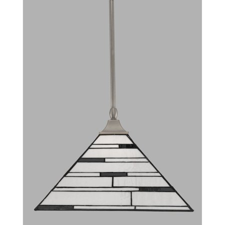 Toltec Lighting Toltec 1-light Brushed Nickel Finish Steel Pendant with Square Tiffany Glass (Tiffany Silver Pearls)