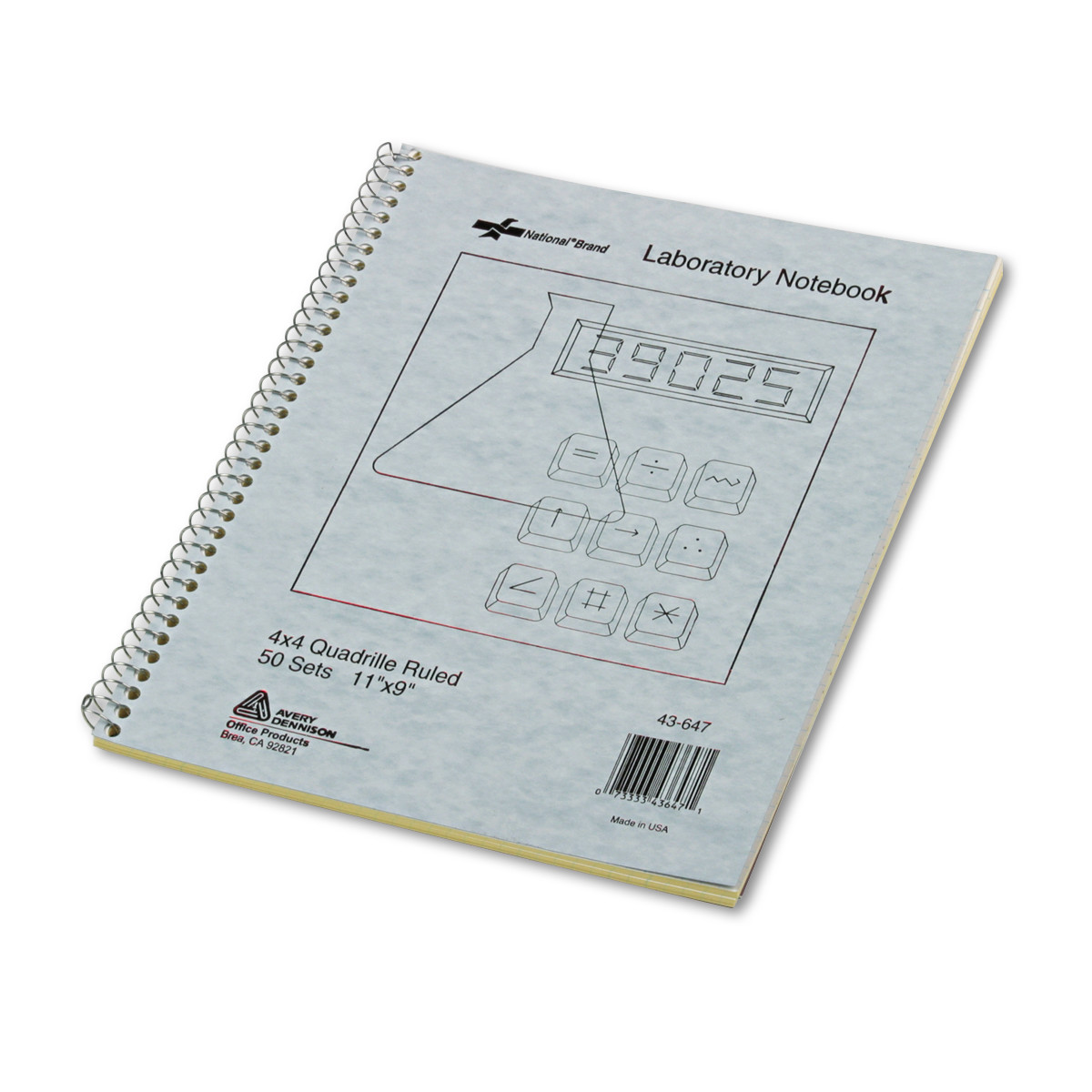 National Duplicate Lab Notebook, Quadrille Rule, 11 x 9, White/Yellow, 100 Sheets -RED43647
