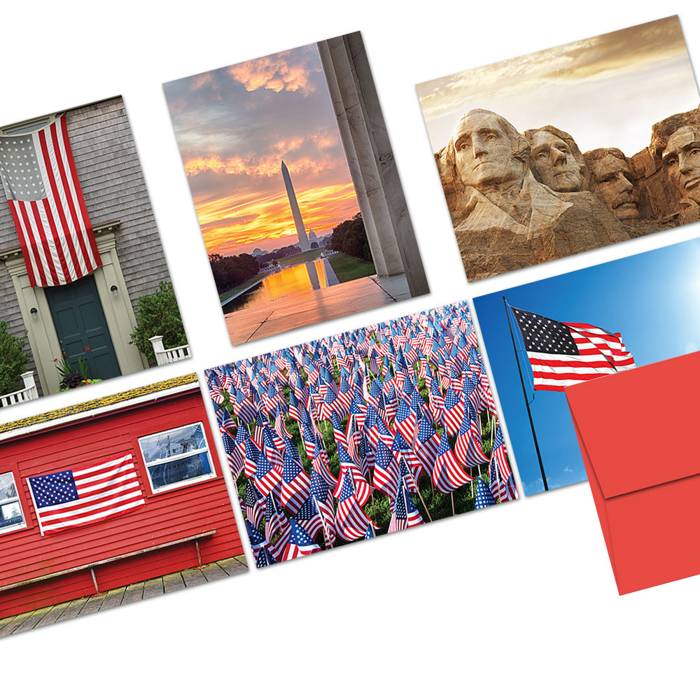 72 Note Cards - Patriotic Scenery - 6 Designs - Blank Cards - Red Envelopes Included