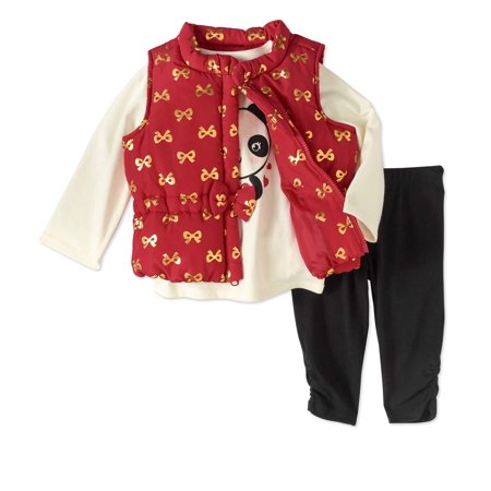3c301056 Healthtex Newborn Baby Girl Bow Detail Foil Puffer Vest, Top, and Legging 3