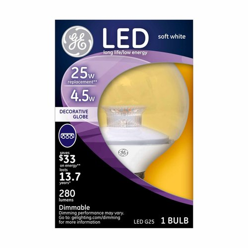 GE LED Soft White G25 Globe Bulb, Clear