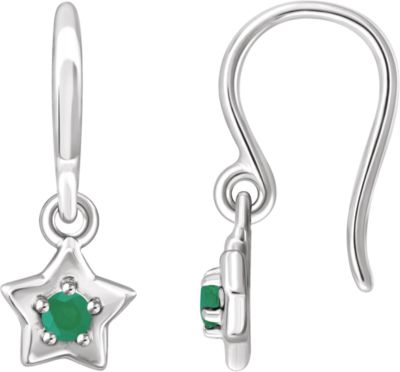 Me And Em Sale (Sterling Silver 3 Mm Round May Youth Star Birthstone Earrings Gemstone Fashion Finished)