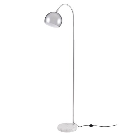 Archiology Loop Floor Lamp, Chrome Standing Light for Home and Office, Modern Lampshade with White Marble Base