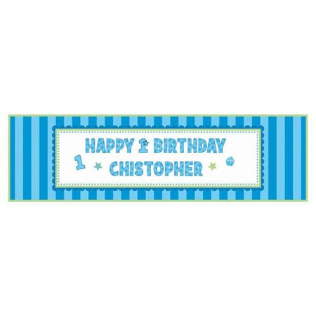1st Birthday 'Sweet Lil' Cupcake Boy' Giant Customizable Banner w/ Decorations (1ct) (Customizable Banner)