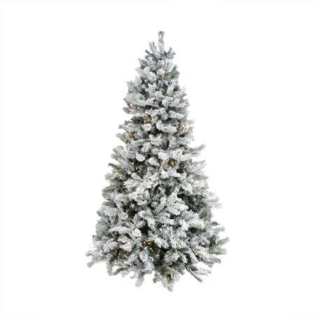 9 Pre Lit Flocked Victoria Pine Multi Function Led Artificial Christmas Tree W Remote Control Clear Multi