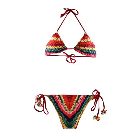 Neck Halter Bra Bikini Set Lady Backless Swimwear Suit Women Swimsuit (Colorful Swimsuits)