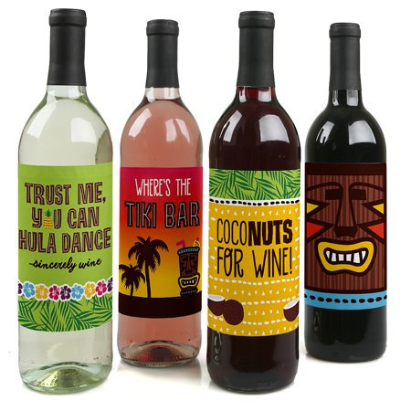 Tiki Luau - Tropical Hawaiian Summer Party Decorations for Women and Men - Wine Bottle Label Stickers - Set of 4 (Hawaiian Party Decoration)
