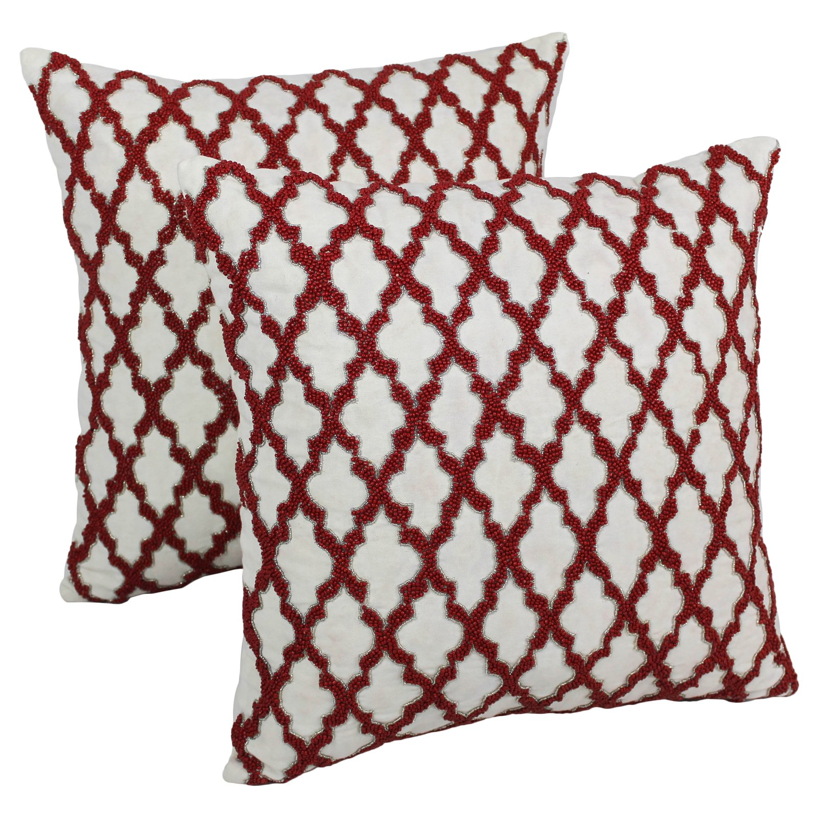 Blazing Needles 20 x 20 in. Moroccan Patterned Beaded Cotton Throw Pillow - Set of 2