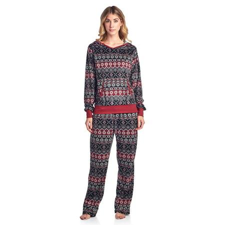 Fairy Pajamas (Ashford & Brooks Women's Mink Fleece Hoodie Pajama Set - Fair Isle Black -)
