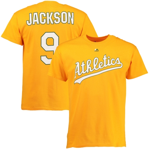 Reggie Jackson Oakland Athletics Majestic Cooperstown Player Name & Number T-Shirt - Yellow