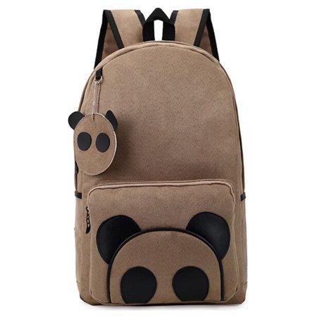 Panda Canvas Backpack  Coofit School Bags Book Bag For Adult Women Girls Men Boys Kids