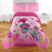 Trolls Comforter with Sherpa Reverse, Kids Bedding, Pink, Poppy, TWIN/FULL