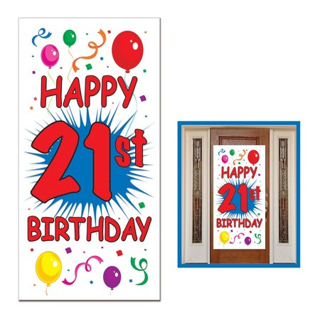Door Cover Part (Club Pack of 12 Birthday Themed 21st Birthday Door Cover Party Decorations 5' )