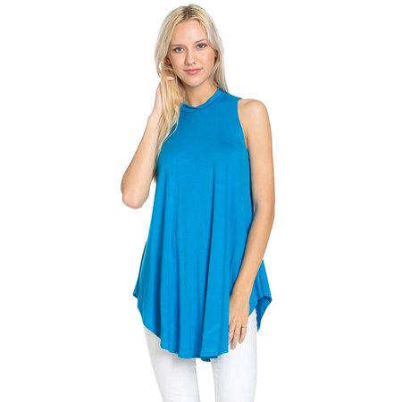 Sleeveless Mock Turtleneck (Azules Women's Sleeveless Flowy Mock Turtleneck )
