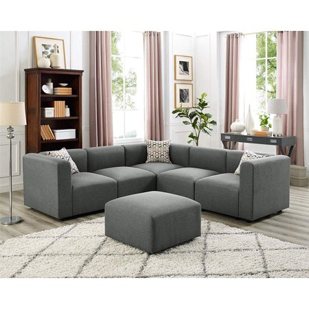 4 Seater Corner Modular Sofa With Footrest Steel Grey