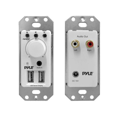 Pyle In-Wall Bluetooth Audio Receiver, Dual USB Device Charger & Aux Input for Sound Systems
