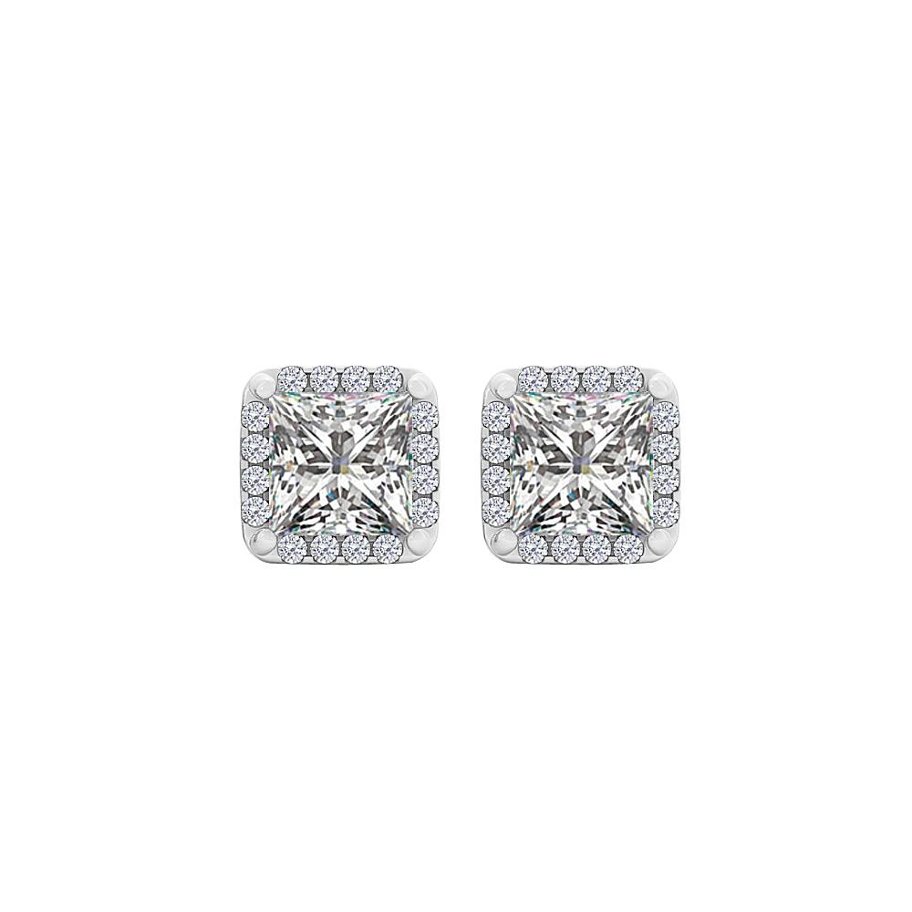Smart Square Cubic Zirconia Stud Earrings in 925 Silver - image 3 de 3