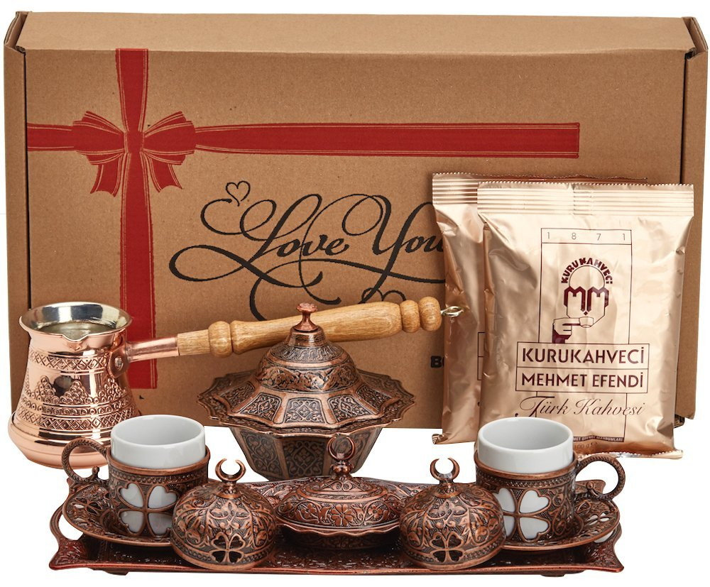 BOSPHORUS 16 Pieces Turkish Greek Arabic Coffee Making Serving Gift Set with Copper Pot Coffee Maker, Cups... by