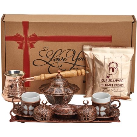 Imari Coffee Saucer - BOSPHORUS 16 Pieces Turkish Greek Arabic Coffee Making Serving Gift Set with Copper Pot Coffee Maker, Cups Saucers, Tray, Sugar Bowl & 6.6 Oz Coffee