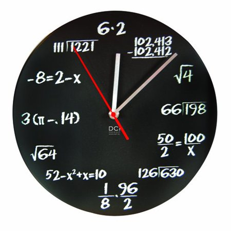 DCI Matte Black  Mathematics Pop Quiz Clock