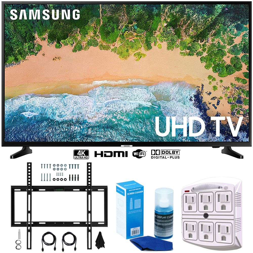 """Samsung UN65NU6900 65"""" NU6900 Smart 4K UHD TV (2018) w/ Wall Mount Bundle Includes, Wall Mount Kit for 45-90 inch TVs, Screen Cleaner (Large Bottle) and SurgePro 6-Outlet Surge Adapter w/ Night Light"""