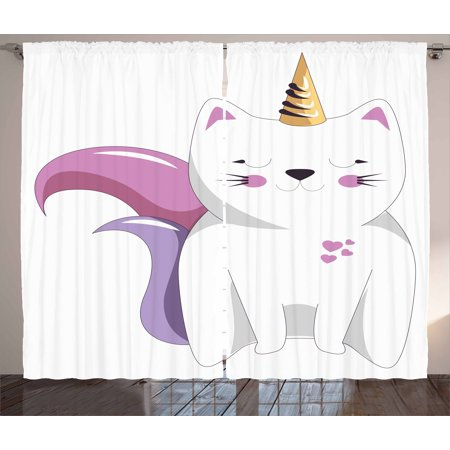 - Unicorn Cat Curtains 2 Panels Set, Fictitious Horned Character with Cute Face Expression Girls Kids, Window Drapes for Living Room Bedroom, 108W X 90L Inches, Pale Pink Orange Lilac, by Ambesonne