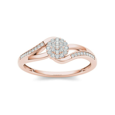 1/8Ct TDW Diamond 10K Rose Gold Diamond Cluster Fashion Ring
