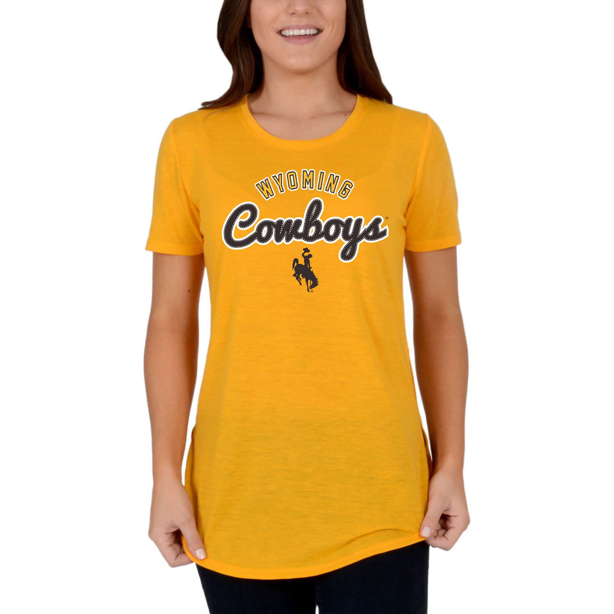 Women's Gold Wyoming Cowboys Faux Stitch V-Neck T-Shirt