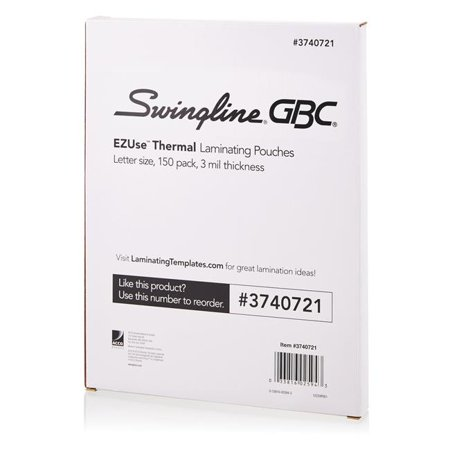 Swingline 3740721 150 per Pack for Thermal Laminating Pouches, Standard Letter Size, 3 mil - Pack of 12
