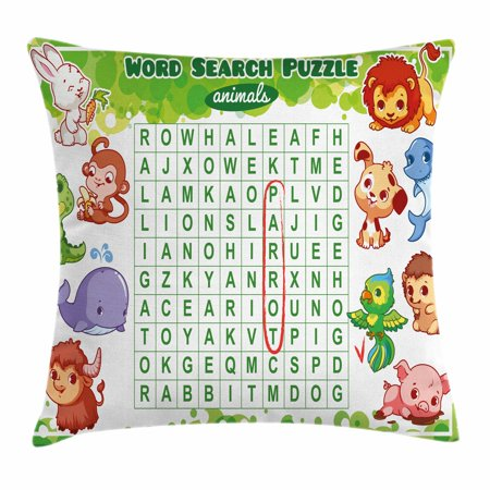 Halloween Making Words Worksheets (Word Search Puzzle Throw Pillow Cushion Cover, Educational Game for Kids Decorated with Cute Animals Worksheet Print, Decorative Square Accent Pillow Case, 18 X 18 Inches, Multicolor, by)