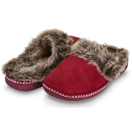 Floopi Womens Indoor Outdoor Aztec Two Tone Fur Lined Clog Slipper W/Memory Foam (S, Wine-305)