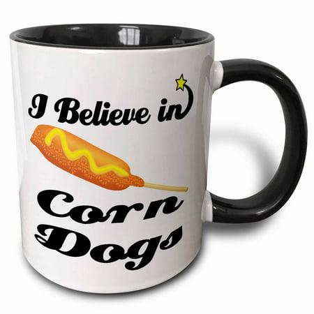 3dRose I Believe In Corn Dogs, Two Tone Black Mug,