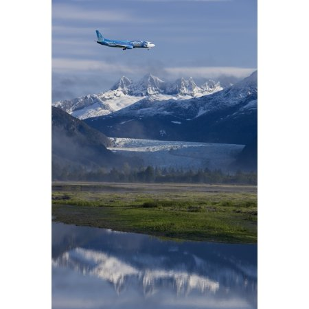 Alaska Airlines Disney Jet Approaches For A Landing At The Juneau International Airport With Mendenhall Glacier And Towers In The Background Canvas Art - John Hyde Design Pics (11 x 17)
