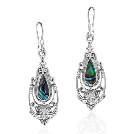 Victorian Style Teardrop Abalone Shell Inlay .925 Sterling Silver Dangle Earrings