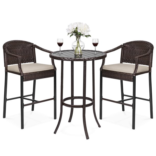 Best Choice Products 3-Piece Outdoor Wicker Table Bar Set for Patio, Garden w/ Bar Stools, Footrests, Steel Frame