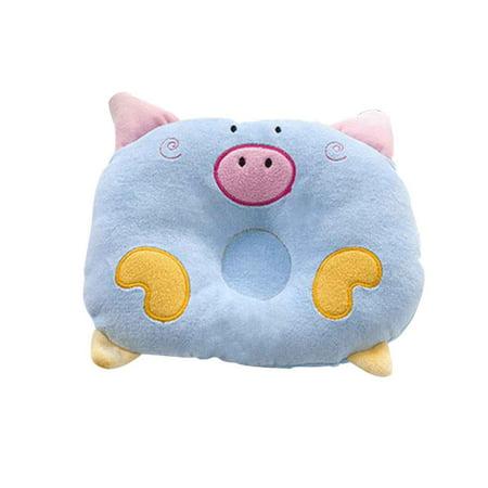 Cartoon Pig Shape Velvet Pillow Sleep Head Anti-rollover Cushion for Baby Infant Newborn Toddler ()