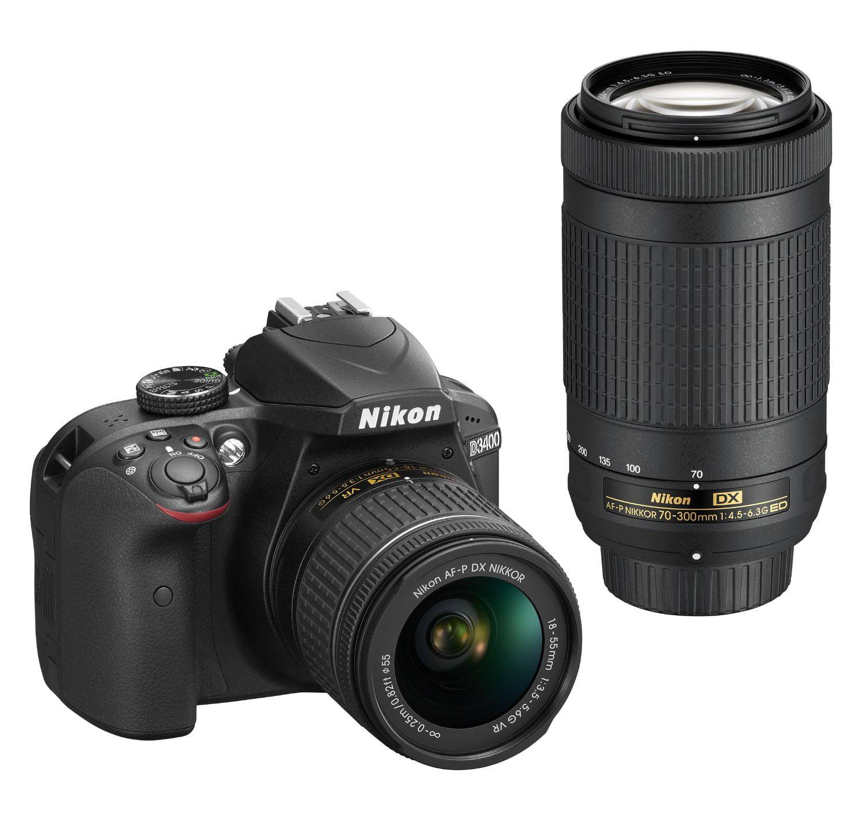 Nikon D3400 DSLR Camera w/ 18-55mm ; 70-300mm Lens, Flash, Filters