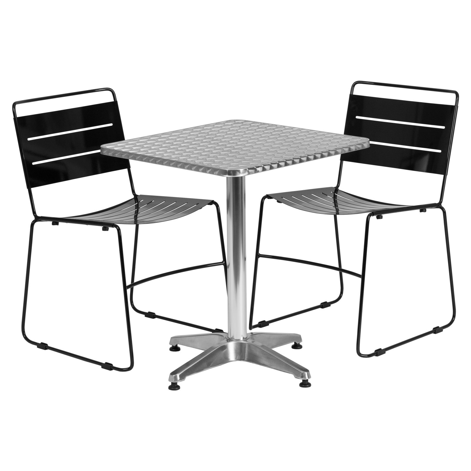 Flash Furniture 23.5'' Square Aluminum Indoor-Outdoor Table with 2 Metal Stack Chairs, Multiple Colors