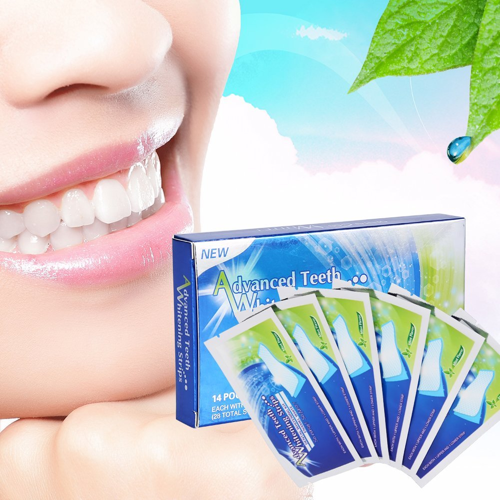 28 pcs Teeth Whitening Strips, Professional Teeth Bleaching Gel Strip Effective Dental Care Kit,Effects Whitestrips Dental Teeth Whitening Strips
