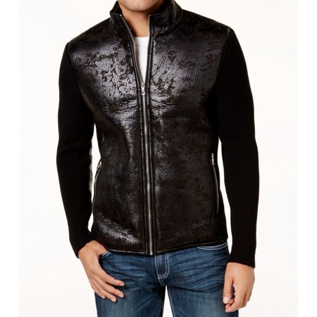 INC Mens Full Zip Faux Leather Mock Neck Jacket