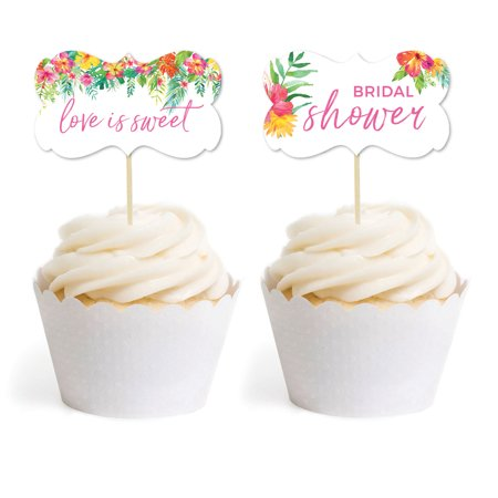 Tropical Floral Garden Party Wedding, Cupcake Topper DIY Party Favors Kit, Fancy Frame Shape, 18-Pack - Tropical Cupcakes