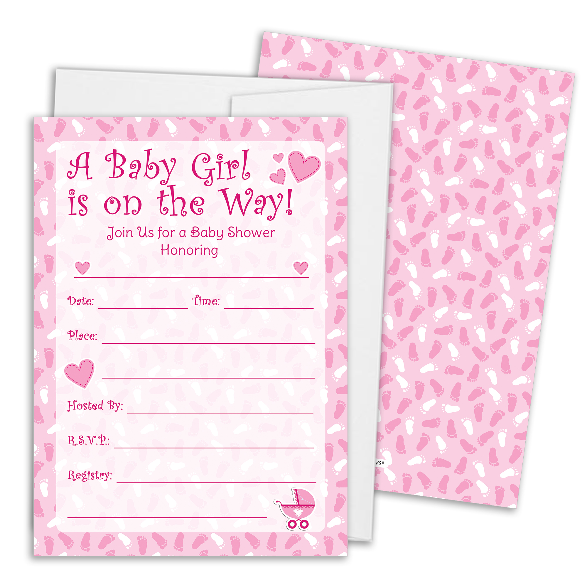 Pink Girl Baby Shower Invitations With White Envelopes, 25 Count. Price