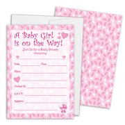 Pink Girl Baby Shower Invitations with White Envelopes, 25 Count