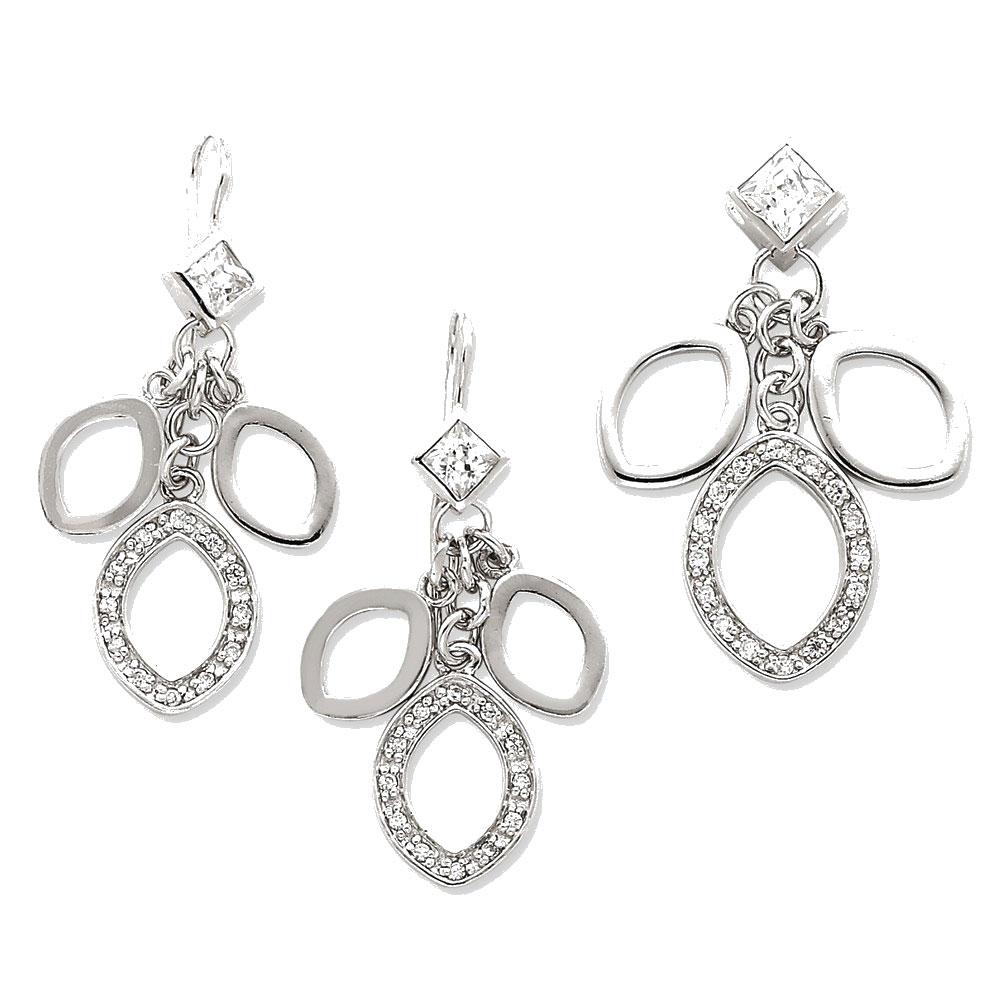 Sterling Silver Cubic Zirconia Dangle Pendant & Earring Set by Goldia